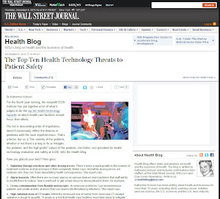The Top Ten Health Technology Threats to Patient Safety