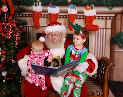 Reading a book with Santa