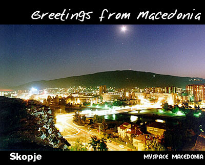 Greetings From Macedonia - Skopje (night, lights, the city, Vodno mountain)