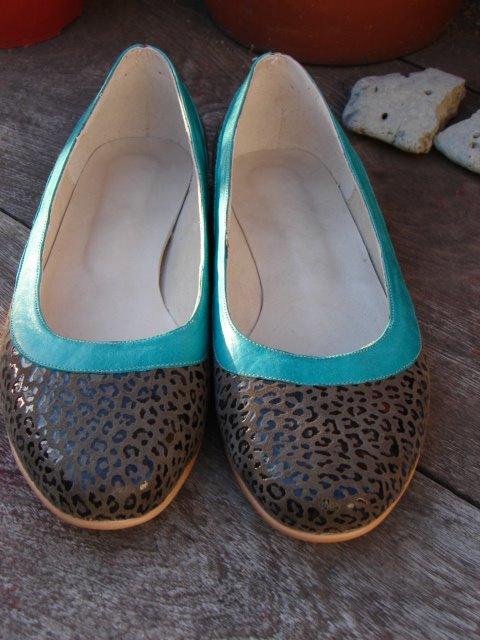 Ballerinas Leopardo con Vista - Verde Aguamarina