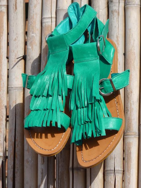 Sandalias de Flecos,Verde Aguamarina - SOLD OUT