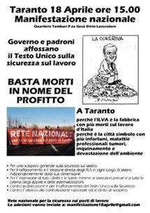18 aprile a Taranto: manifesto locale