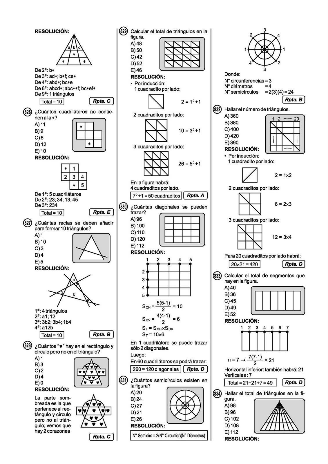 Ejercicios Resueltos de Conteo de Figuras - Razonamiento Matematico