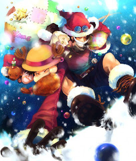 portgas d ace monkey d luffy merry christmas one piece