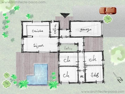 Plan maison architecte moderne 3d for Plan architecte maison