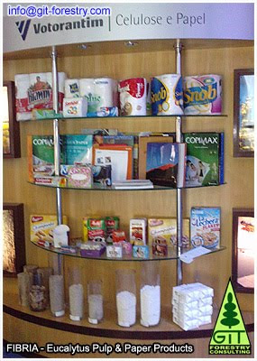 Eucalyptus pulp and paper products at FIBRIA: wood, woodchips, bleached pulp, printing paper, packaging paper, tissue paper / Productos de celulosa y papel de eucalipto de FIBRIA: madera, astillas, celulosa sin blanquar, celulosa blanqueada, papel de impresion, papel de embalaje, papel higienico / Gustavo Iglesias Trabado, Roberto Carballeira Tenreiro and Javier Folgueira Lozano / GIT Forestry Consulting SL, Consultoría y Servicios de Ingeniería Agroforestal, Lugo, Galicia, España, Spain / Eucalyptologics, information resources on Eucalyptus cultivation around the world / Eucalyptologics, recursos de informacion sobre el cultivo del eucalipto en el mundo