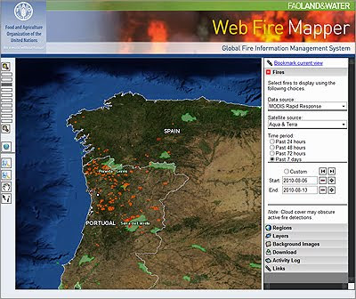 NASA satellites monitoring forest fire activity in Galicia and Portugal at Wikisilva, Aula de Silvicultura, Universidade de Vigo / FAO Department of Natural Resources and Environment Web Global Fire Mapper / Global Forest Fire Remote Sensing Monitoring / Gustavo Iglesias Trabado & Roberto Carballeira Tenreiro & Javier Folgueira Lozano / GIT Forestry Consulting, Consultoría y Servicios de Ingeniería Agroforestal, Galicia, España, Spain / Eucalyptologics, information resources on Eucalyptus cultivation around the world / Eucalyptologics, recursos de informacion sobre el cultivo del eucalipto en el mundo