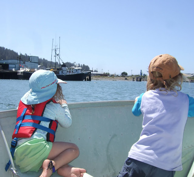 riding around Humboldt Bay in aluminum skiff