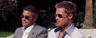 George Clooney and Brad Pitt Dual Monitor 2560x1024 desktop