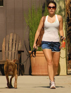 Sophia Bush Walking Dog In Skimpy Shorts images