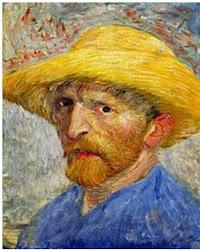 Auto retrato com chapeu de palha