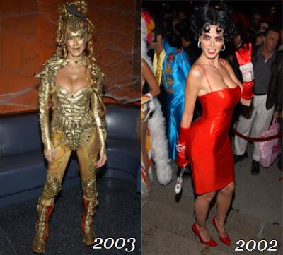 Heidi disfrazada de Alien dorado y de Betty Boop