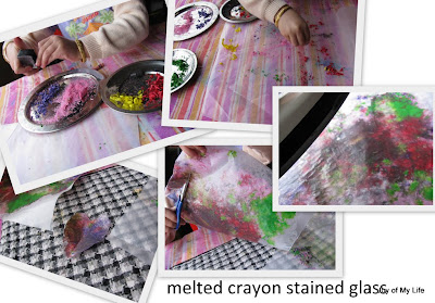 kids art melted crayon stained glass art