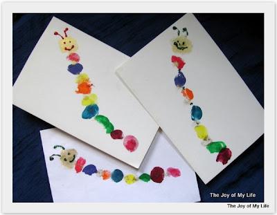 thumbprint caterpillar greeting cards kids art