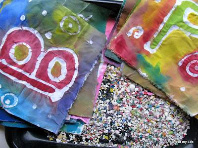 kids craft paste batik home-made happy birthday flag
