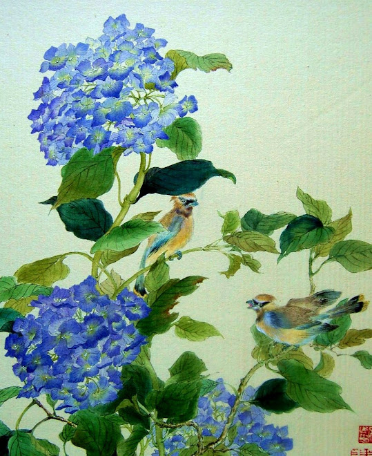 BLUE FLOWERS AND BIRDS