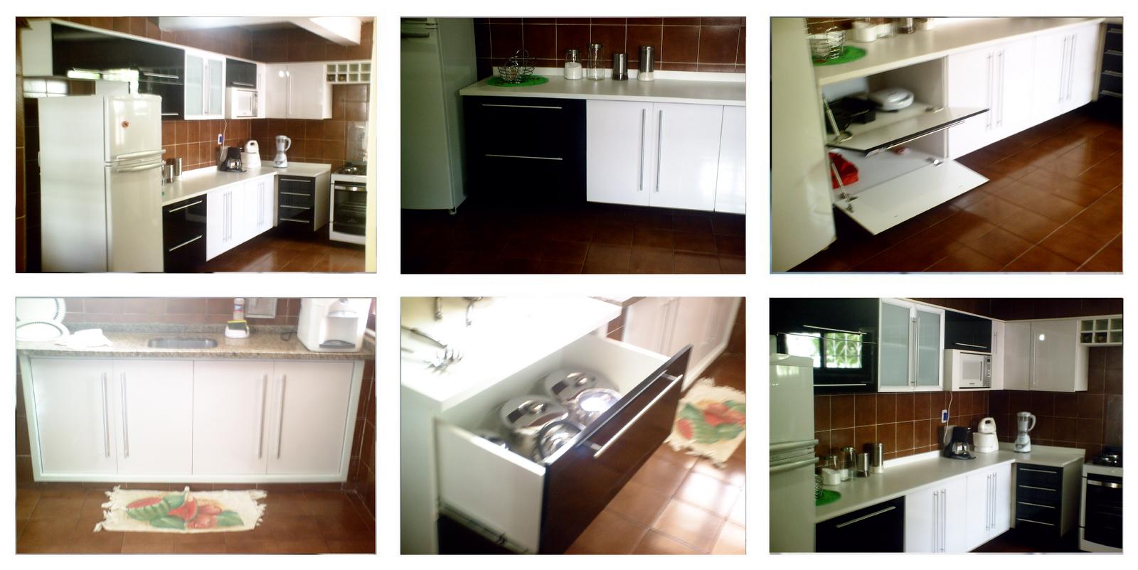 Cozinha 100% MDF na cor preta e branca laca auto brilho (lançamento  #663C1E 1600 802