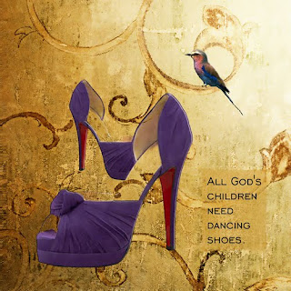 purple high heel shoes quote bird mixed media