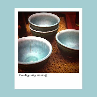 iPhone polaroid, blue soup bowls