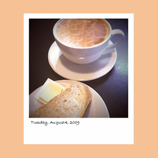 iPhone polaroid, coffee, latte, bakery