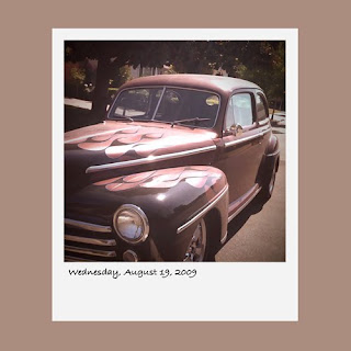 iPhone polaroid, vintage car