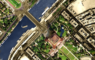 eiffel tower, google satellite 