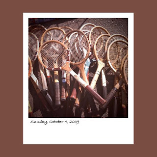 Antiques By The Bay, vintage tennis rackets, iPhone polaroid