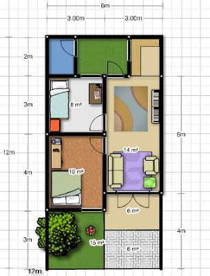 Desain Rumah Gratis di lahan 6 x 12m