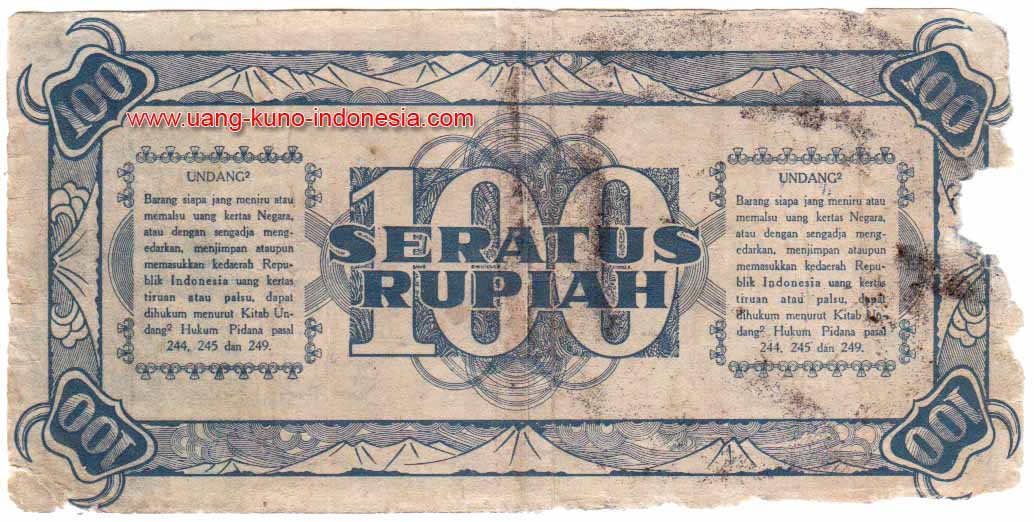 100 rupiah seri ori 1 1945 no seri 24745 km circulated