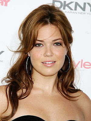 straight hairstyle. mandy moore short hairstyle.