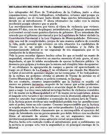 DECLARACIÓN DEL FORO DE TRABAJADORES DE LA CULTURA