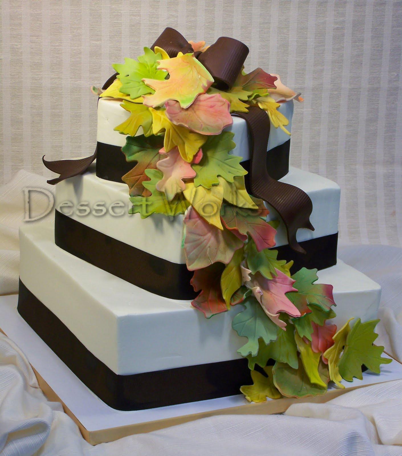 Gallery For Square Fall Leaves Wedding Cakes