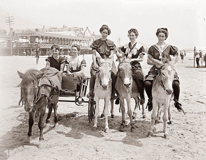 Today's picture is from around 1900, and it shows the beach at Atlantic City