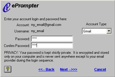 fill email login and password