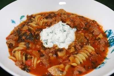 Lasagna Soup with Basil Ricotta Crme