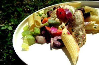 Grilled and Dilled Chicken Veggie Pasta Salad