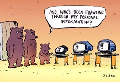 photo of three bears privacy cartoon