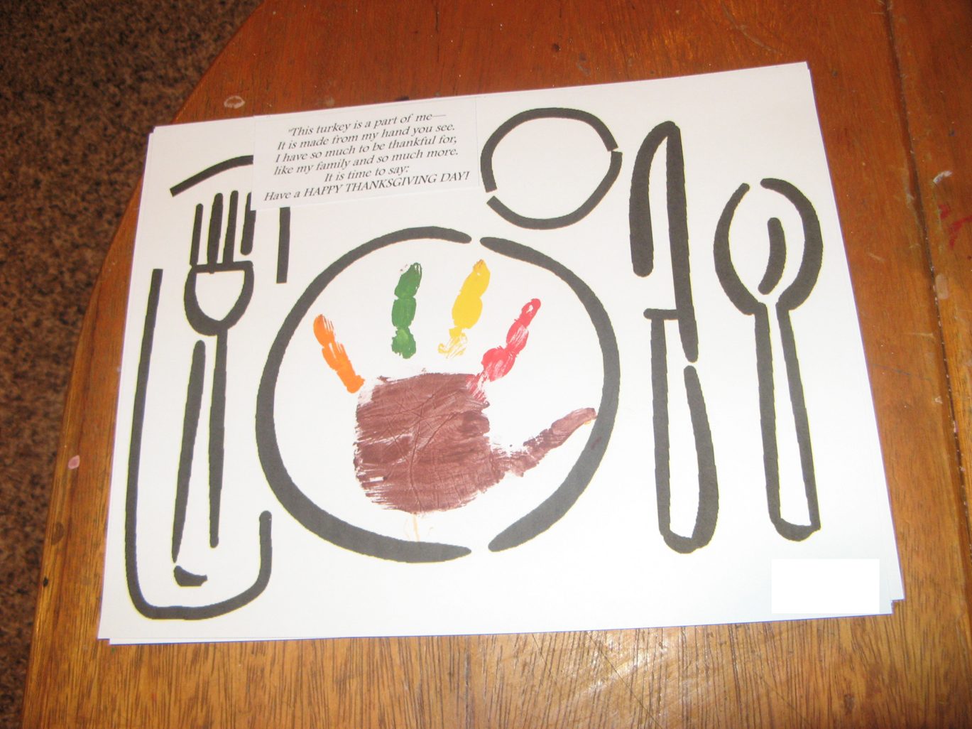 Thankful Thanksgiving Placemats Preschool