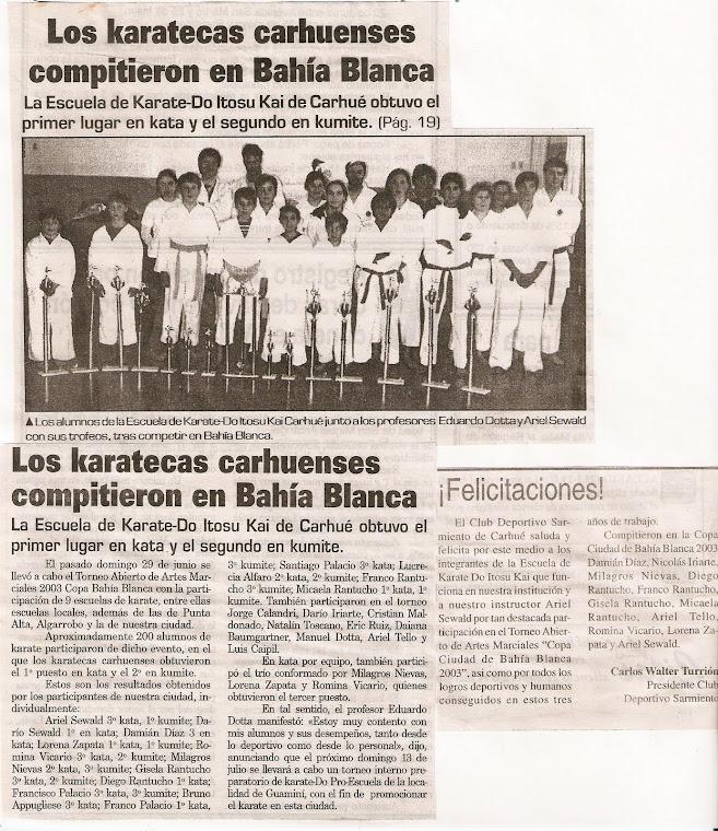 """ABIERTO DE ARTES MARCIALES """"COPA BAHIA BLANCA 2003"""" ... COMPITIERON LAS 2 ESCUELAS JUNTAS"""