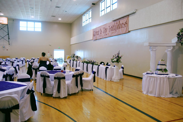 gym wedding reception