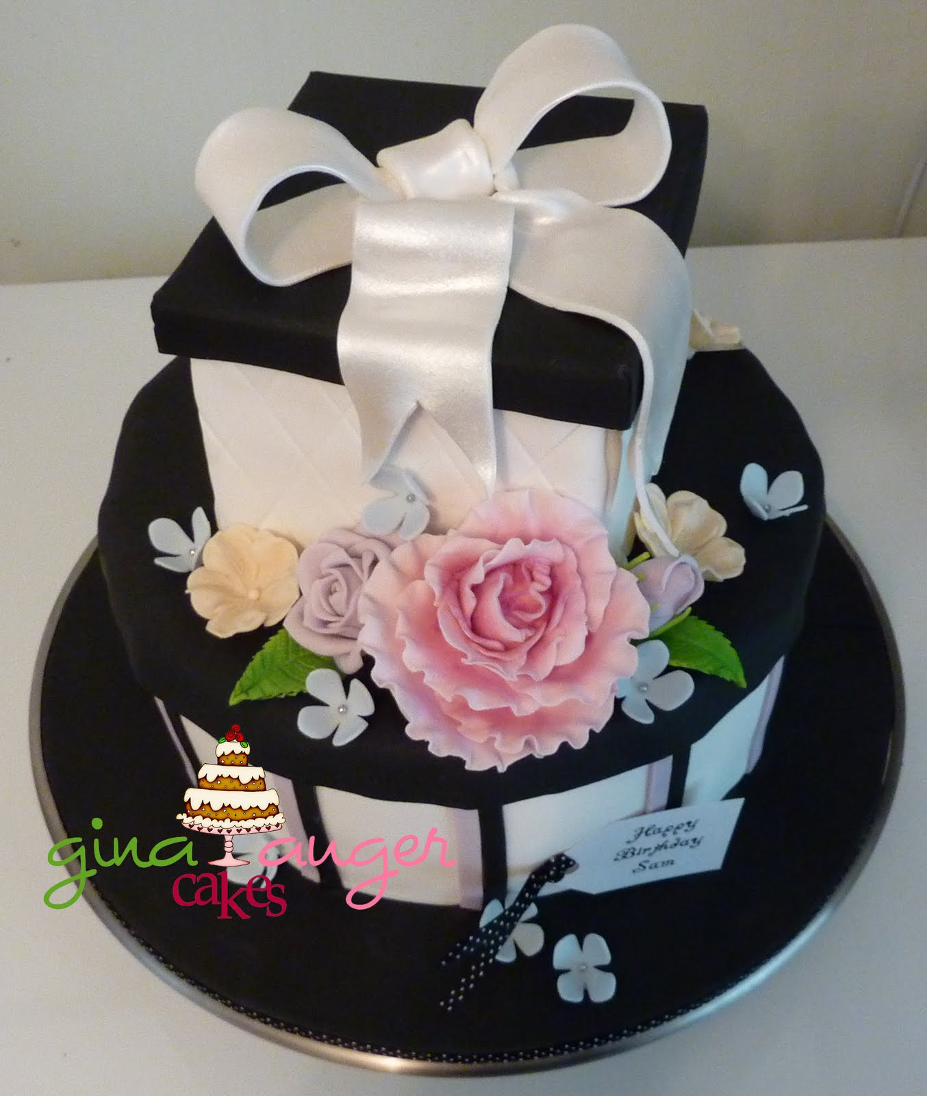 Top That Black And White Gift Box Cake Sams Birthday