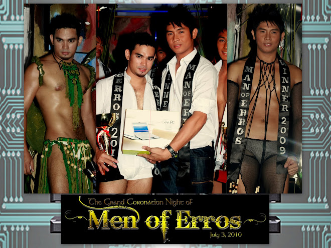 EUGIE (2009 WINNER) HANDS OVER CROWN TO RANDY, 2010 MAN OF ERROS