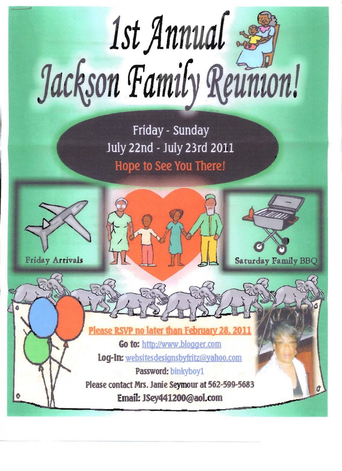 Flyer For 1st Annual Jackson Family Reunion  Family Reunion Flyer