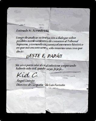 "Fortuño Envía Nombre De Candidato Para El Supremo A Acevedo Vilá: ""Este E. Papá"""