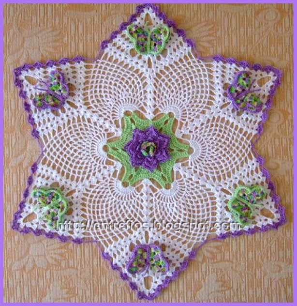 Free Crochet Patterns For Butterfly Doilies : As Receitas de Croch?: Toalha de croche com 6 borboletas