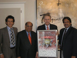 Pictured at the presentation (from L to R) are:  Christophe Dubi, IOC Sports Director; N Ramachandran, WSF President; Jacques Rogge, IOC President; Jahangir Khan, WSF Emeritus President