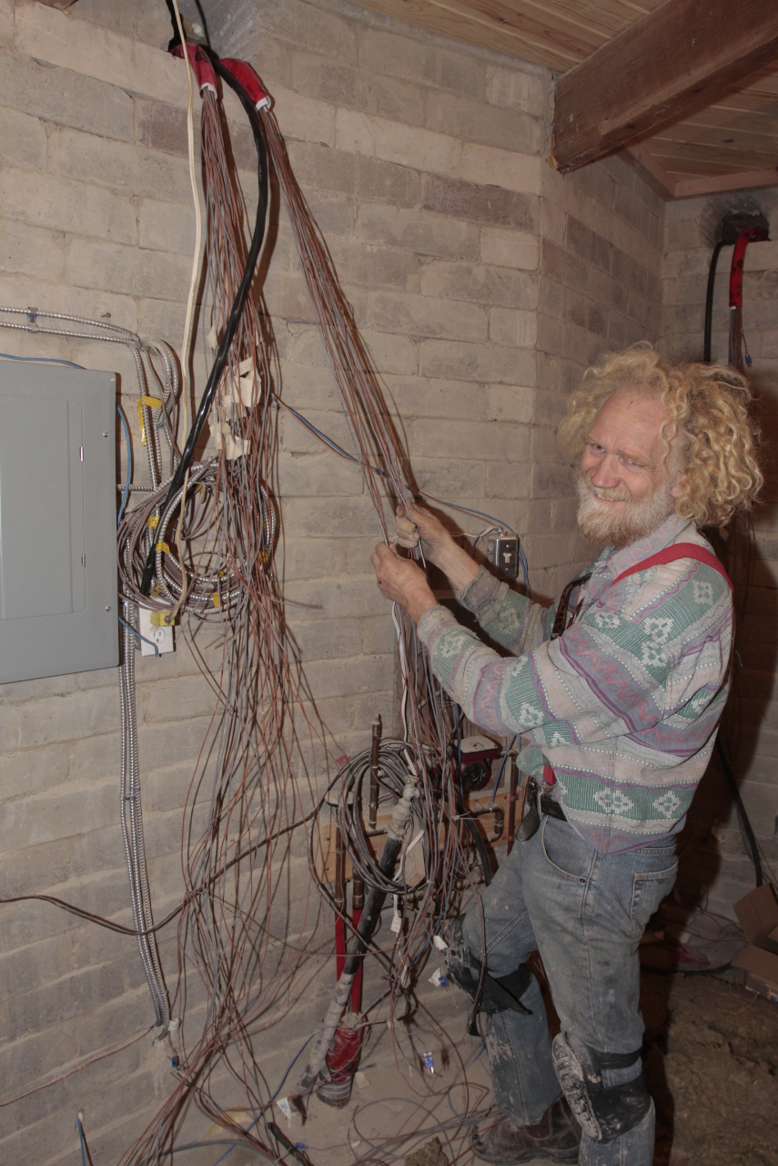 Fifth Wind Construction Of Demonstration Home Wiring Block Wall Like The Nervous System Houseover 80 Thermal Couplers And Moisture Meters Placed In Between Straw Bale Earth By A Queens