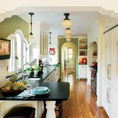 The old post road spanish revival kitchen remodel for Period kitchen design