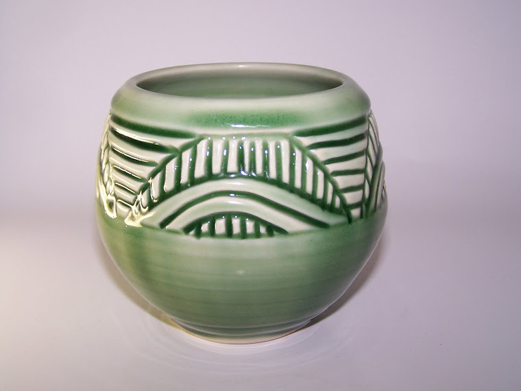 Carved Celadon Tea Cup