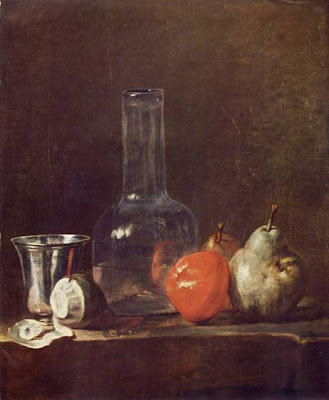Jean-Siméon Chardin -  Still Life with Glass Flask and Frui